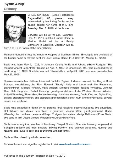 S Alsip Obituary