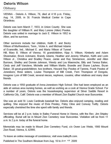 D Wilson Obituary